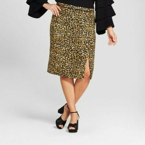 Who What Wear Pencil Skirt 22W Watercolor Cheetah